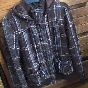 Roxy Plaid Bomber Jacket